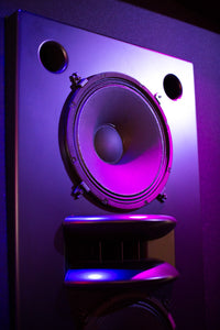Black Augspurger Duo-15 Speaker System close-up view in music studio.