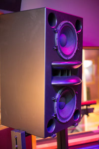 Augspurger Black Duo-12 Single Speaker angle view in sound studio.