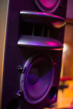 Load image into Gallery viewer, Augspurger Black Duo-12 Single Speaker close-up view in sound studio.
