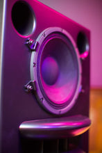 Load image into Gallery viewer, Augspurger Black Duo-12 Single Speaker angle close-up view in sound studio.
