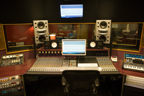 White Augspurger Duo-8 Speaker System full set up in music studio.