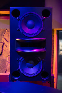 Black Augspurger Duo-12 Single Speaker front view in sound studio.