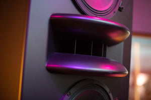 Black Augspurger Duo-12 Single Speaker angle close-up view in sound studio.