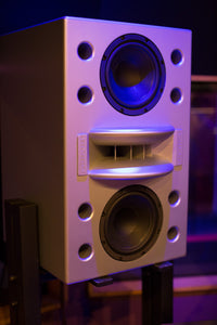 Augspurger White Duo-8 Single Speaker on Stand in music studio.