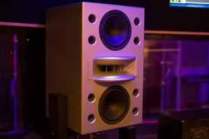 Augspurger Duo-8 Single White Speaker on Stand in music studio.