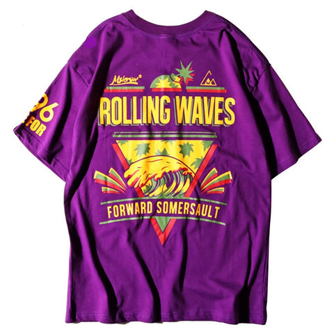 Purple T Shirt Hip Hop Rolling Wave Pineapple