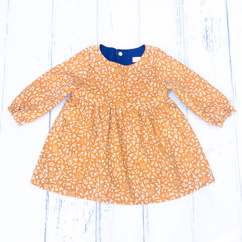 Mustard Floral Smock Dress (Pinwale Cord)