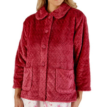 Load image into Gallery viewer, http://images.esellerpro.com/2278/I/197/807/BJ66315-slenderella-chevron-pattern-bed-jacket-raspberry.jpg