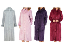 Load image into Gallery viewer, http://images.esellerpro.com/2278/I/183/994/HC4336-slenderella-ladies-faux-fur-collar-button-up-robe-housecoat-dressing-gown-group-image.jpg