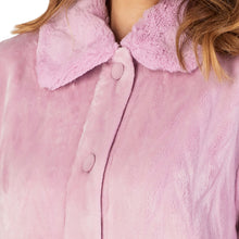 Load image into Gallery viewer, http://images.esellerpro.com/2278/I/183/994/HC4336-slenderella-ladies-faux-fur-collar-button-up-robe-housecoat-dressing-gown-pink-close-up-1.jpg