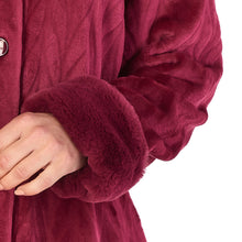 Load image into Gallery viewer, http://images.esellerpro.com/2278/I/183/994/HC4336-slenderella-ladies-faux-fur-collar-button-up-robe-housecoat-dressing-gown-raspberry-close-up-2.jpg