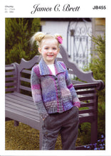 Load image into Gallery viewer, http://images.esellerpro.com/2278/I/144/637/james-brett-girls-chunky-knitting-pattern-collar-cardigan-JB455.jpg