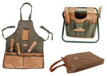 Load image into Gallery viewer, http://images.esellerpro.com/2278/I/146/369/khaki-green-brown-gardening-set-tool-stool-garden-apron-kneeling-pad.jpg