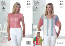 Load image into Gallery viewer, http://images.esellerpro.com/2278/I/130/128/king-cole-4-ply-4ply-crochet-pattern-ladies-womens-top-cardigan-4710.jpg