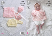 Load image into Gallery viewer, http://images.esellerpro.com/2278/I/129/803/king-cole-4-ply-4ply-knitting-pattern-baby-angel-top-cardigan-bonnet-blanket-4689.jpg