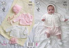 Load image into Gallery viewer, http://images.esellerpro.com/2278/I/129/800/king-cole-4-ply-4ply-knitting-pattern-baby-matinee-coat-cardigan-bonnet-bootees-4688.jpg