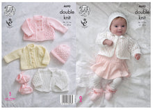 Load image into Gallery viewer, http://images.esellerpro.com/2278/I/129/806/king-cole-4-ply-4ply-knitting-pattern-baby-matinee-coat-jacket-cardigan-bonnet-hat-bootees-4690-border.jpg