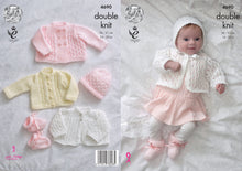 Load image into Gallery viewer, http://images.esellerpro.com/2278/I/129/806/king-cole-4-ply-4ply-knitting-pattern-baby-matinee-coat-jacket-cardigan-bonnet-hat-bootees-4690.jpg