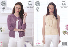 Load image into Gallery viewer, http://images.esellerpro.com/2278/I/124/745/king-cole-4-ply-knitting-pattern-ladies-womens-lace-effect-cardigan-top-4501.jpg