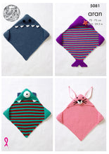 Load image into Gallery viewer, http://images.esellerpro.com/2278/I/146/925/king-cole-aran-knitting-pattern-baby-hooded-blanket-shark-mermaid-monster-bunny-5081.jpg