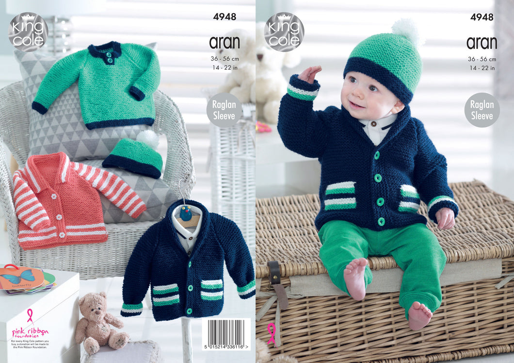 http://images.esellerpro.com/2278/I/145/933/king-cole-baby-aran-knitting-pattern-jackets-sweater-hat-4948.jpg