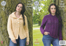 Load image into Gallery viewer, http://images.esellerpro.com/2278/I/120/045/king-cole-big-value-super-chunky-knitting-pattern-ladies-lace-effect-cardigan-sweater-4361.jpg