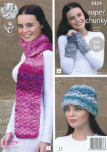 Load image into Gallery viewer, http://images.esellerpro.com/2278/I/120/033/king-cole-big-value-super-chunky-tints-knitting-pattern-ladies-winter-accessories-4354-back.jpg
