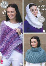 Load image into Gallery viewer, http://images.esellerpro.com/2278/I/120/033/king-cole-big-value-super-chunky-tints-knitting-pattern-ladies-winter-accessories-4354-front.jpg