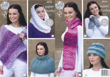 Load image into Gallery viewer, http://images.esellerpro.com/2278/I/120/033/king-cole-big-value-super-chunky-tints-knitting-pattern-ladies-winter-accessories-4354.jpg