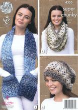 Load image into Gallery viewer, http://images.esellerpro.com/2278/I/120/037/king-cole-big-value-super-chunky-tints-knitting-pattern-ladies-winter-accessories-4355-back.jpg