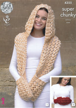 Load image into Gallery viewer, http://images.esellerpro.com/2278/I/120/037/king-cole-big-value-super-chunky-tints-knitting-pattern-ladies-winter-accessories-4355-front.jpg