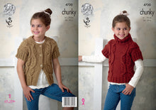 Load image into Gallery viewer, http://images.esellerpro.com/2278/I/130/793/king-cole-chunky-knitting-pattern-girls-cable-knit-cap-sleeve-waistcoats-4720.jpg