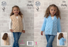 Load image into Gallery viewer, http://images.esellerpro.com/2278/I/129/809/king-cole-chunky-knitting-pattern-girls-cable-knit-cardigan-waistcoat-4700.jpg