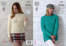 Load image into Gallery viewer, http://images.esellerpro.com/2278/I/129/815/king-cole-chunky-knitting-pattern-ladies-womens-cable-knit-sweaters-4702.jpg