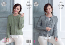 Load image into Gallery viewer, http://images.esellerpro.com/2278/I/145/993/king-cole-chunky-knitting-pattern-ladies-womens-cardigan-sweater-5013.jpg