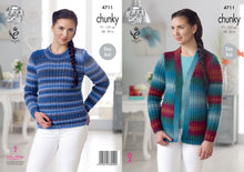 Load image into Gallery viewer, http://images.esellerpro.com/2278/I/130/772/king-cole-chunky-knitting-pattern-ladies-womens-easy-knit-sweater-cardigan-4711.jpg