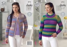 Load image into Gallery viewer, http://images.esellerpro.com/2278/I/130/784/king-cole-chunky-knitting-pattern-ladies-womens-easy-knit-sweater-cardigan-4715.jpg