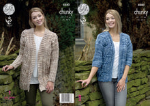 Load image into Gallery viewer, http://images.esellerpro.com/2278/I/142/329/king-cole-chunky-knitting-pattern-ladies-womens-jackets-4880.jpg