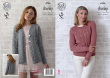 Load image into Gallery viewer, http://images.esellerpro.com/2278/I/129/821/king-cole-chunky-knitting-pattern-ladies-womens-lace-cardigan-sweater-4704.jpg