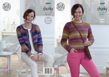 Load image into Gallery viewer, http://images.esellerpro.com/2278/I/145/981/king-cole-chunky-knitting-pattern-ladies-womens-raglan-sleeve-cardigan-sweater-5009.jpg