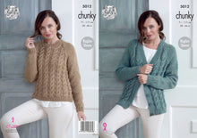 Load image into Gallery viewer, http://images.esellerpro.com/2278/I/145/990/king-cole-chunky-knitting-pattern-ladies-womens-raglan-sleeve-cardigan-sweater-5012.jpg