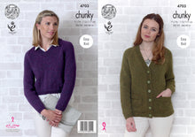 Load image into Gallery viewer, http://images.esellerpro.com/2278/I/129/818/king-cole-chunky-knitting-pattern-ladies-womens-sweater-cardigan-4703.jpg
