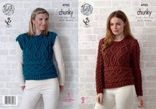 Load image into Gallery viewer, http://images.esellerpro.com/2278/I/129/824/king-cole-chunky-knitting-pattern-ladies-womens-sweater-sleeveless-top-4705.jpg