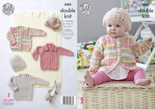 Load image into Gallery viewer, http://images.esellerpro.com/2278/I/146/928/king-cole-double-knit-knitting-pattern-baby-blanket-sweater-cardigans-hat-5082.jpg
