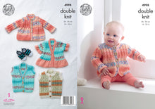 Load image into Gallery viewer, http://images.esellerpro.com/2278/I/142/617/king-cole-double-knit-knitting-pattern-baby-jacket-gilet-4998.jpg