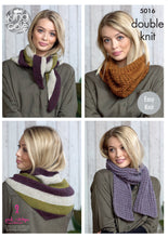 Load image into Gallery viewer, http://images.esellerpro.com/2278/I/146/002/king-cole-double-knit-knitting-pattern-ladies-womens-shawl-scarf-snood-5016.jpg