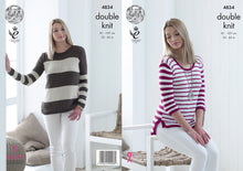 Load image into Gallery viewer, http://images.esellerpro.com/2278/I/136/806/king-cole-double-knitting-dk-pattern-womens-ladies-striped-sweaters-4834.jpg
