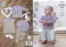 Load image into Gallery viewer, http://images.esellerpro.com/2278/I/134/495/king-cole-double-knitting-pattern-baby-cardigans-dress-leggings-4732.jpg