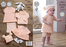 Load image into Gallery viewer, http://images.esellerpro.com/2278/I/134/492/king-cole-double-knitting-pattern-baby-lace-dress-cardigan-sweater-shorts-hat-4731.jpg