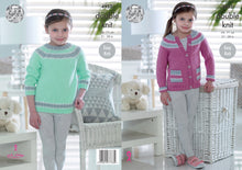 Load image into Gallery viewer, http://images.esellerpro.com/2278/I/142/386/king-cole-double-knitting-pattern-girls-sweater-cardigan-4952.jpg